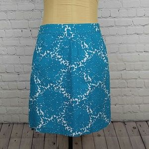 Boden Teal & White Floral Skirt with Pockets sz 6
